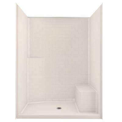 Everyday Subway Tile 60 in. x 34 in. x 80 in. Center Drain Right Seat 1-Piece Shower Stall in Biscuit