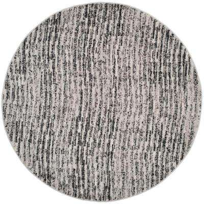 Adirondack Black/Silver 6 ft. x 6 ft. Round Area Rug