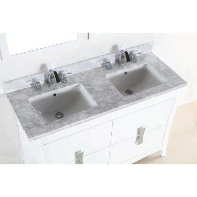 Tracy 48 in. W x 19 in. D x 34 in. H Double Vanity in White with Carrara Marble Vanity Top in White with White Basins
