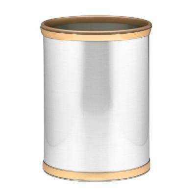 Brushed Chrome and Brass Mylar Trash Can with 3/4 in. Brushed Brass Band and Gold Bumper
