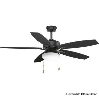 Billows Collection 52 in. LED Indoor Forged Black Classic Ceiling Fan with Light Kit