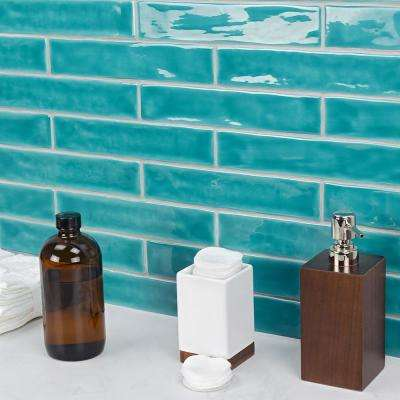 Newport Turquoise 2 in. x 10 in. x 11mm Polished Ceramic Subway Wall Tile (40 pieces / 5.38 sq. ft. / box)