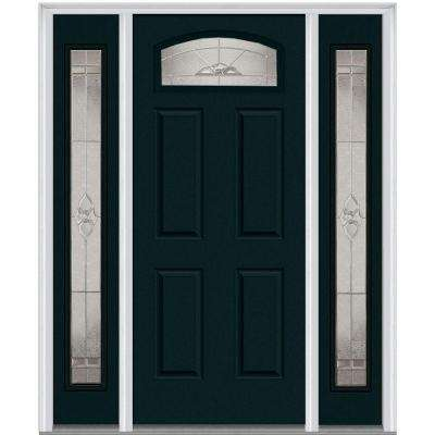 36 in. x 80 in. w/ 12 in. Sidelites Master Nouveau Decorative Glass 1/4 Lite Painted Majestic Steel Prehung Front Door