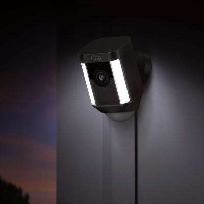 Spotlight Cam Wired Outdoor Security Camera Black with Chime Pro