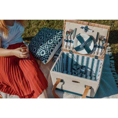 13-Piece Natural Canvas Steamed Willow and Linen Fabric Boardwalk Picnic Set and Basket (Set for 2)
