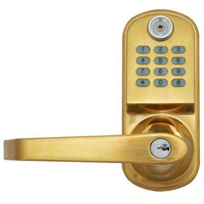 800 Code Lighted Keypad Digital Remote Code Single Cylinder Brass Door Lock-DISCONTINUED