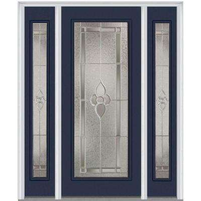64.5 in. x 81.75 in. Master Nouveau Decorative Glass Full Lite Painted Majestic Steel Exterior Door with Sidelites