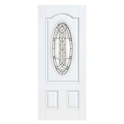 36 in. x 80 in. Chatham Three Quarter Oval Lite Primed Steel Prehung Front Door with No Brickmold