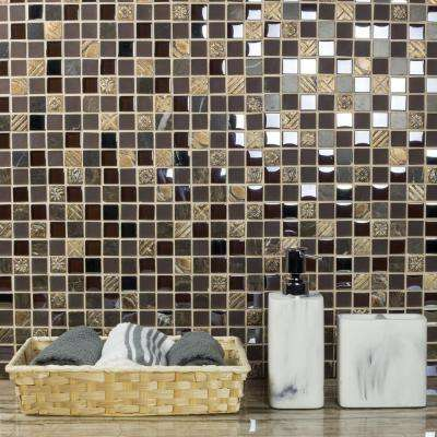 Monarchy Antigua Brown Deco Mosaic 1 in. x 1 in. Glass and Stone Mesh Mounted Wall Tile (0.98 Sq. ft.)