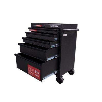 27 in. W 5-Drawer Rolling Cabinet Tool Chest in Textured Black