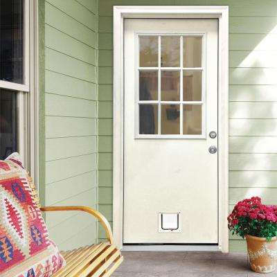32 in. x 80 in. Classic Clear 9 Lite LHIS White Primed Fiberglass Prehung Back Door with Small Cat Door
