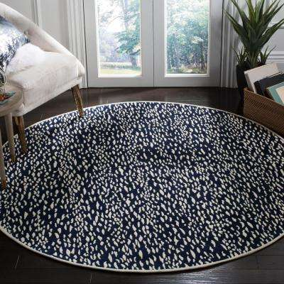 Marbella Navy Blue/Ivory 6 ft. x 6 ft. Round Area Rug