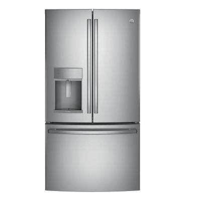 35.75 in. W 22.1 cu. ft. French Door Refrigerator with Hands Free Autofill in Stainless Steel, Counter Depth