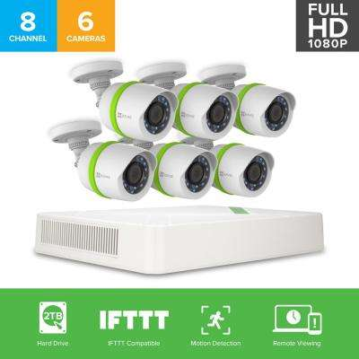 Security System 6 HD 1080p Cameras 8-Channel DVR with 2TB HDD, 100 ft. Night Vision Works with Alexa Using IFTTT