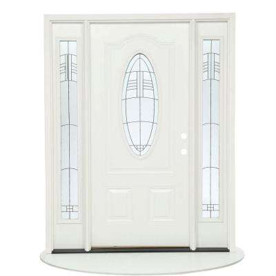 63.5 in.x81.625 in. Rochester Patina 3/4 Oval Lt Unfinished Smooth Left-Hand Fiberglass Prehung Front Door w/ Sidelites