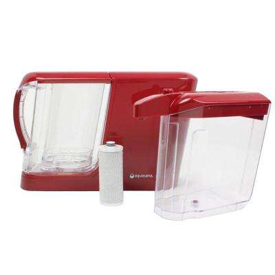 16-Cup Dispenser with 8-Cup Pitcher Water Filtration System in Red, Filters Out Heavy Metals and Chlorine