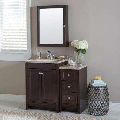 Delridge Bath Suite with 24 in. W Bathroom Vanity, Vanity Top, and Linen Tower in Chocolate