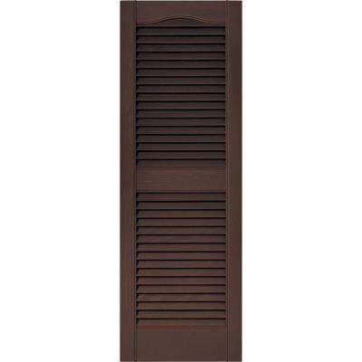 15 in. x 43 in. Louvered Vinyl Exterior Shutters Pair in #009 Federal Brown