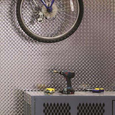 Diamond Plate 96 in. W x 48 in. H x 0.013 in. D Decorative Wall Panel in Brushed Aluminum