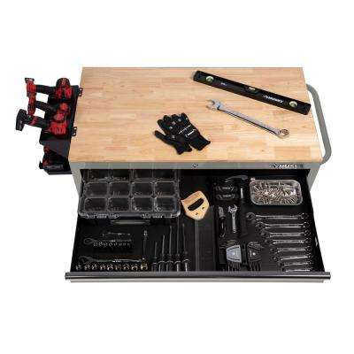 46 in. W 9-Drawer, Deep Tool Chest Mobile Workbench in Gloss Gray with Hardwood Top