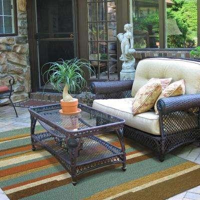 Tahitian Stripe Teal 3 ft. x 5 ft. Indoor/Outdoor Area Rug