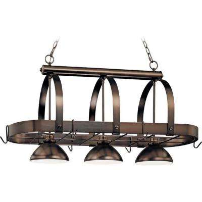 3-Light Antique Bronze Pot Rack Pendant