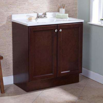 Vanity Pro All-In-One 31 in. W Bathroom Vanity in Chestnut with Cultured Marble Vanity Top in White