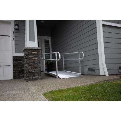 GATEWAY 3G 8 ft. Aluminum Solid Surface Wheelchair Ramp with 2-Line Handrails