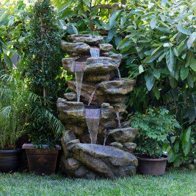 "Alpine Corporation 51"" Tall Outdoor 6-Tier Amazonian Rainforest Waterfall Fountain with 30 LED Lights"