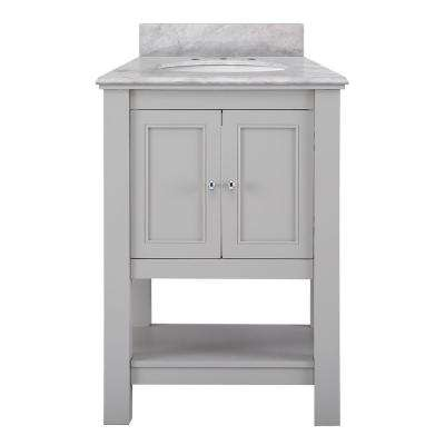 Gazette 25 in. x 22 in. D Vanity in Grey with Marble Vanity Top in Carrara White with White Basin