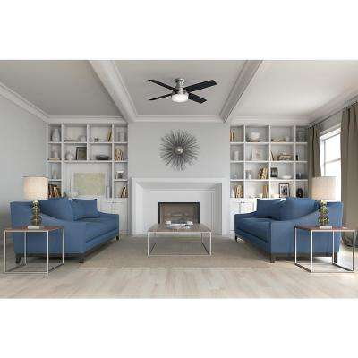 Dempsey 52 in. Low Profile LED Indoor Brushed Nickel Ceiling Fan with Light with Remote Control