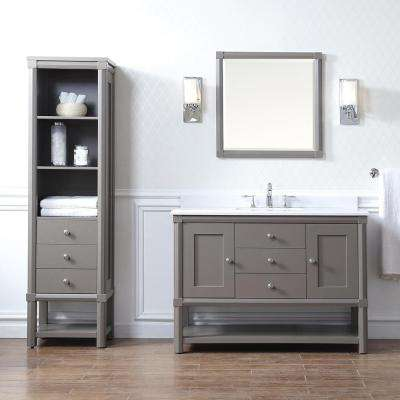 Sutton 48 in. W x 22 in D Vanity in Brook Trout with Marble Vanity Top in Yves White with White Basin