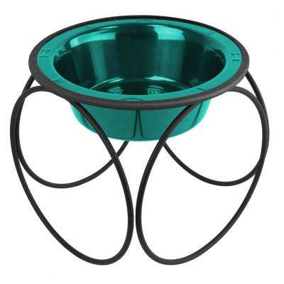 Platinum Pets 6.25 Cup Olympic Single Diner Feeder with Dog Bowl, Caribbean Teal