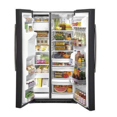 21.8 cu. Ft. Side by Side Refrigerator in Black Slate, Counter Depth and Fingerprint Resistant