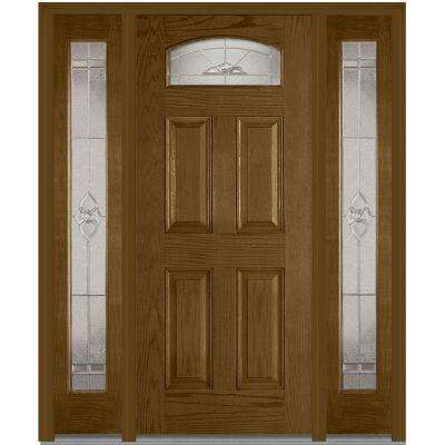 64.5 in. x 81.75 in. Master Nouveau Decorative Glass 1/4 Lite Finished Fiberglass Oak Exterior Door with Sidelites