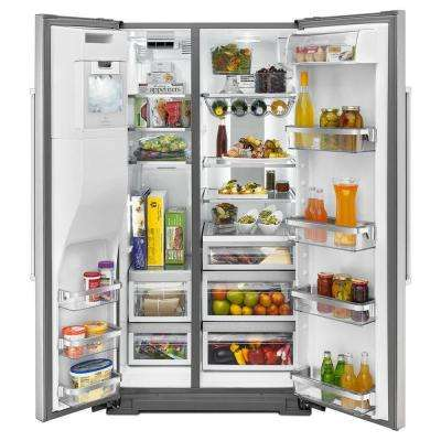 24.8 cu. ft. Side by Side Refrigerator in Stainless Steel with Exterior Ice and Water