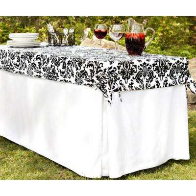 6 ft. Utility Table in White Table Cloth with Black and White Damask Topper