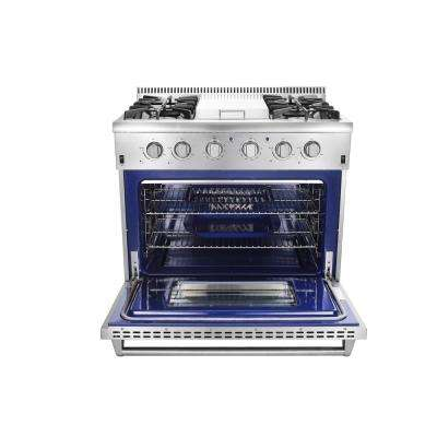 36 in. 5.2 cu. ft. Professional Gas Range in Stainless Steel