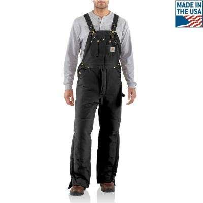 Men's Black Cotton Arctic Quilt Lined Duck Bib Overalls