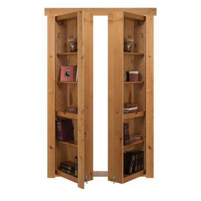48 in. x 80 in. Flush Mount Assembled Alder Natural Stained In-Swing Solid Core Interior French Bookcase Door