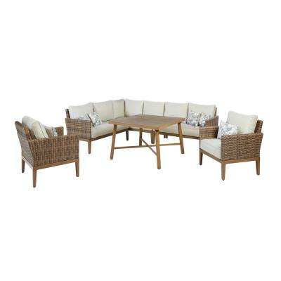 Chandler Lakes 6-Piece Aluminum Outdoor Dining Set with Sunbrella Beige Cushion