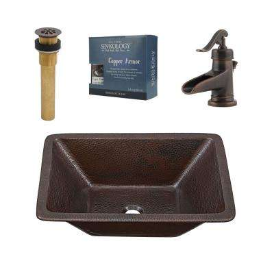 Pfister All-In-One Hawking 20 Bathroom Sink Design Kit in Aged Copper with Centerset Rustic Bronze Faucet