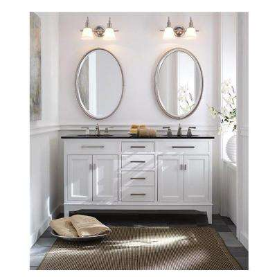 Manor Grove 49 in. W Bath Vanity in White with Granite Vanity Top in Black with White Sink