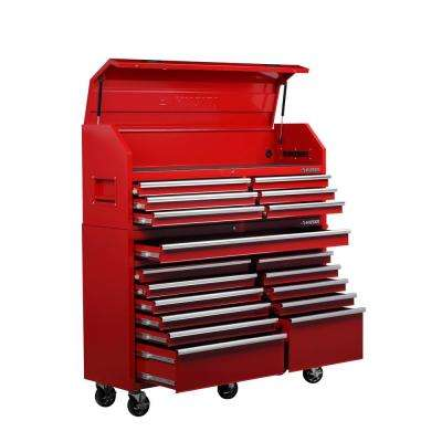 61 in. W 18-Drawer Combination Tool Chest and Rolling Cabinet Set in Gloss Red