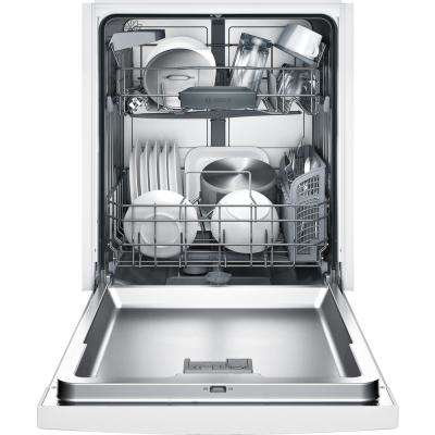 100 Series Front Control Tall Tub Dishwasher in White with Hybrid Stainless Steel Tub and Utility Rack, 50dBA