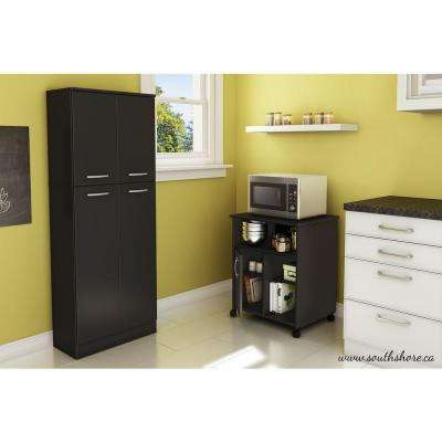 Pure Black Microwave Cart With Storage