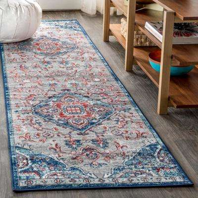 Modern Persian Vintage Medallion Light Pink/Navy 2 ft. x 8 ft. Runner Rug