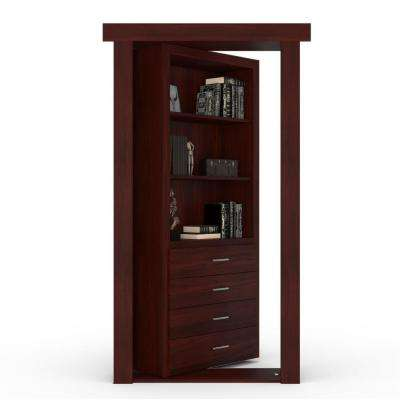 30 in. x 80 in. Flush Mount Assembled Dresser Door Walnut Cherry Stained Right-Hand Inswing