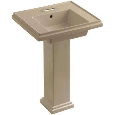 Tresham Ceramic Pedestal Combo Bathroom Sink with 4 in. Centers in Mexican Sand with Overflow Drain