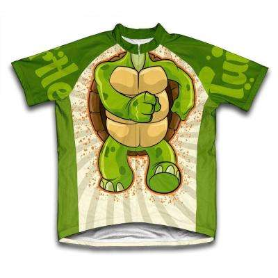 Unisex Large Green Turtle Microfiber Short-Sleeved Cycling Jersey